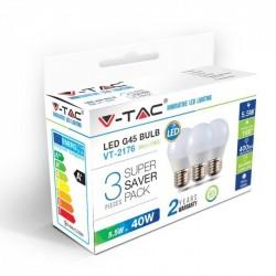 Lampada V-Tac G45 5,5W bianco caldo (conf. 3pz)