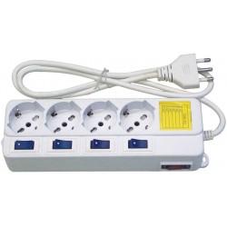 Multipresa elettrica 4 prese shuko + interruttori singoli