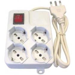 Multipresa elettrica 4 prese shuko + interruttore